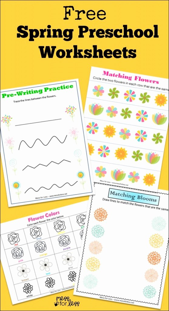 Free Spring Worksheets for Preschoolers New Free Spring Preschool Worksheets Mess for Less