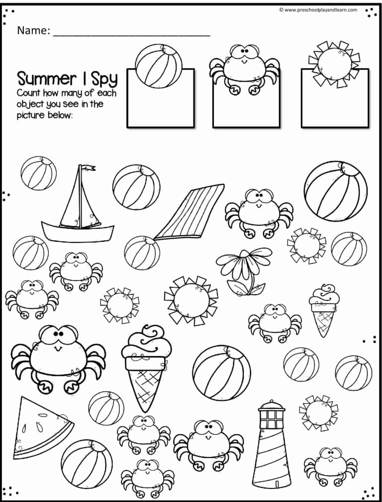 Free Summer Worksheets for Preschoolers Best Of Free Summer Number Worksheets — Preschool Play and Learn
