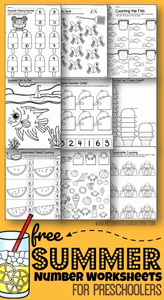 Free Summer Worksheets for Preschoolers Lovely Free Preschool Summer Math Worksheets