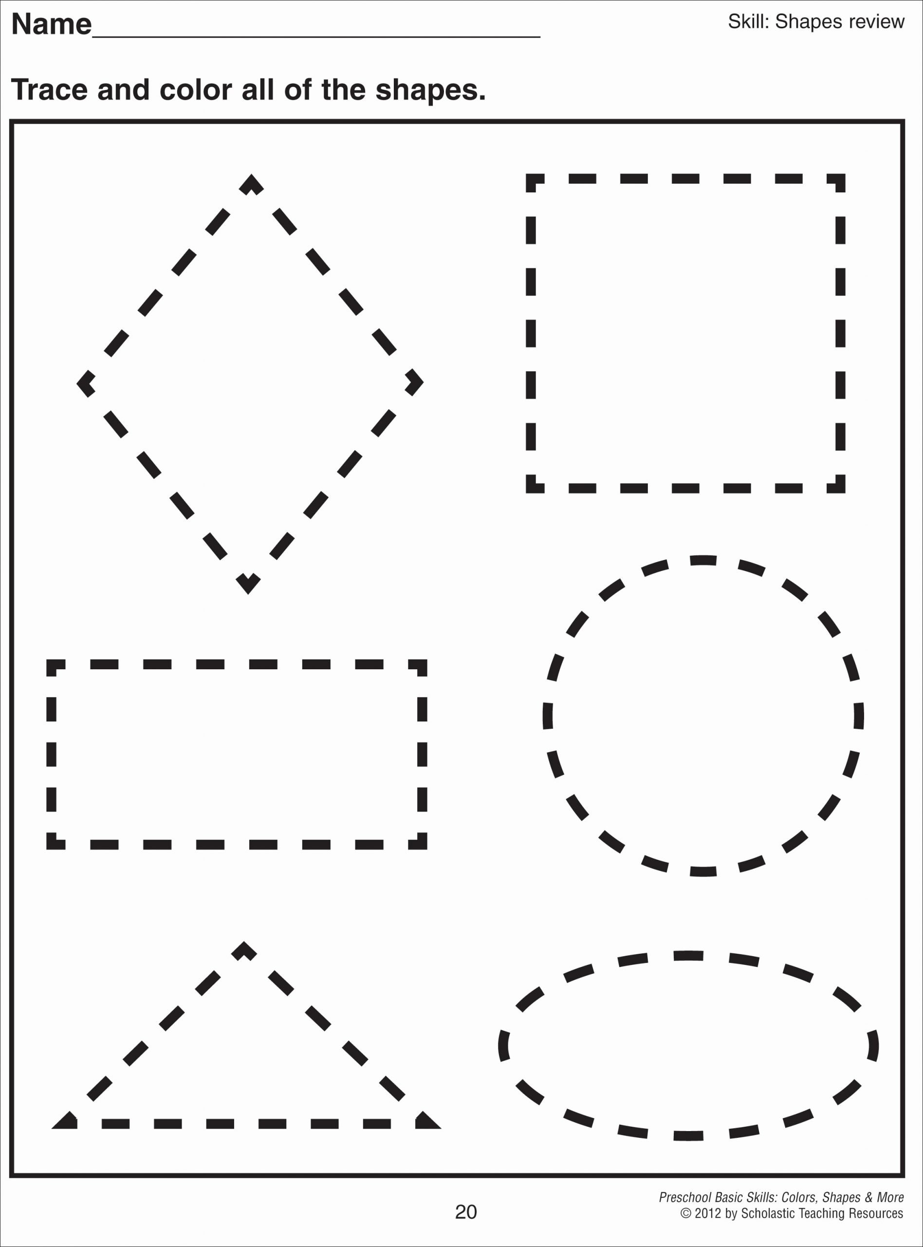Free Tracing Shapes Worksheets for Preschoolers Fresh Math Worksheet 1000 Images About Preschool Shapes On
