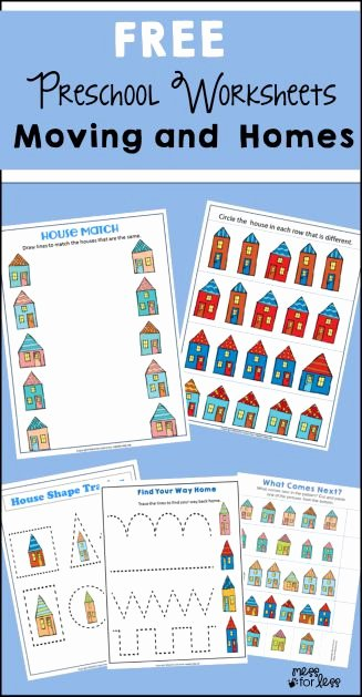 Free Worksheets for Preschoolers at Home Lovely Free Preschool Worksheets Moving and Homes Mess for Less