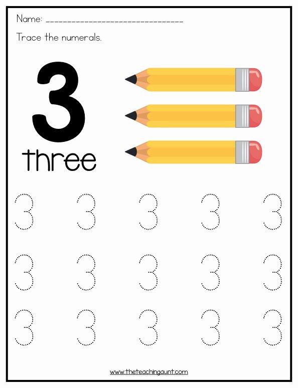 Free Worksheets for Preschoolers Numbers Kids Number Tracing Worksheets for Preschoolers the Teaching Aunt