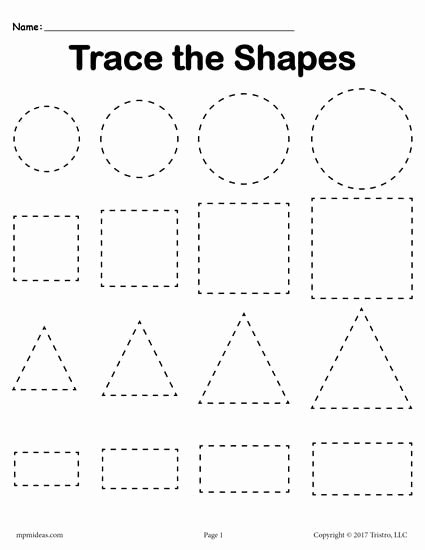 Free Worksheets for Preschoolers Shapes Fresh Free Tracing Shapes Worksheets Smallest to St Preschool
