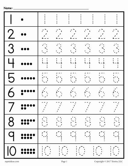 Free Worksheets for Preschoolers Trace Ideas Free Printable Tracing Worksheet Numbers 1 10