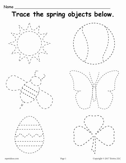 Free Worksheets for Preschoolers Trace New Printable Spring themed Tracing Worksheet