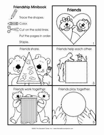 Friendship Worksheets for Preschoolers Ideas A Friendship Booklet Project is Appropriate for Anytime Of
