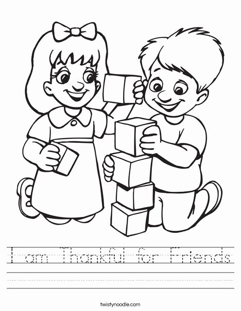 Friendship Worksheets for Preschoolers Inspirational I Am Thankful for Friends Worksheet Twisty Noodle