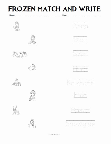 Frozen Worksheets for Preschoolers Inspirational Frozen Matching Worksheet Free Printable Allfreeprintable