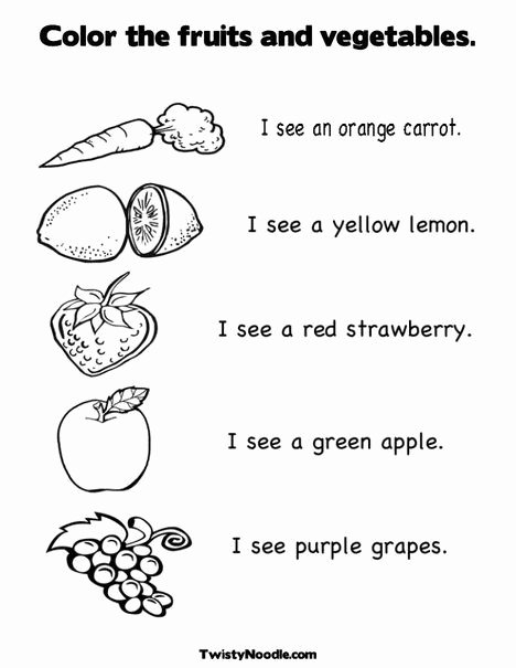 Fruits and Vegetables Worksheets for Preschoolers Kids Color the Fruits and Ve Ables Coloring Page