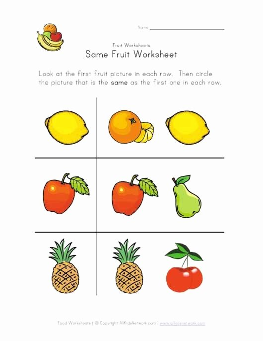 Fruits and Vegetables Worksheets for Preschoolers Kids Same Fruit Worksheet