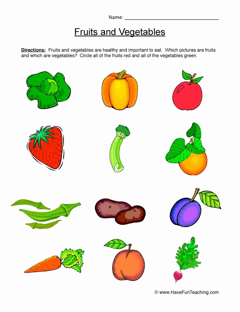 Fruits and Vegetables Worksheets for Preschoolers Lovely Fruits and Ve Ables Worksheet