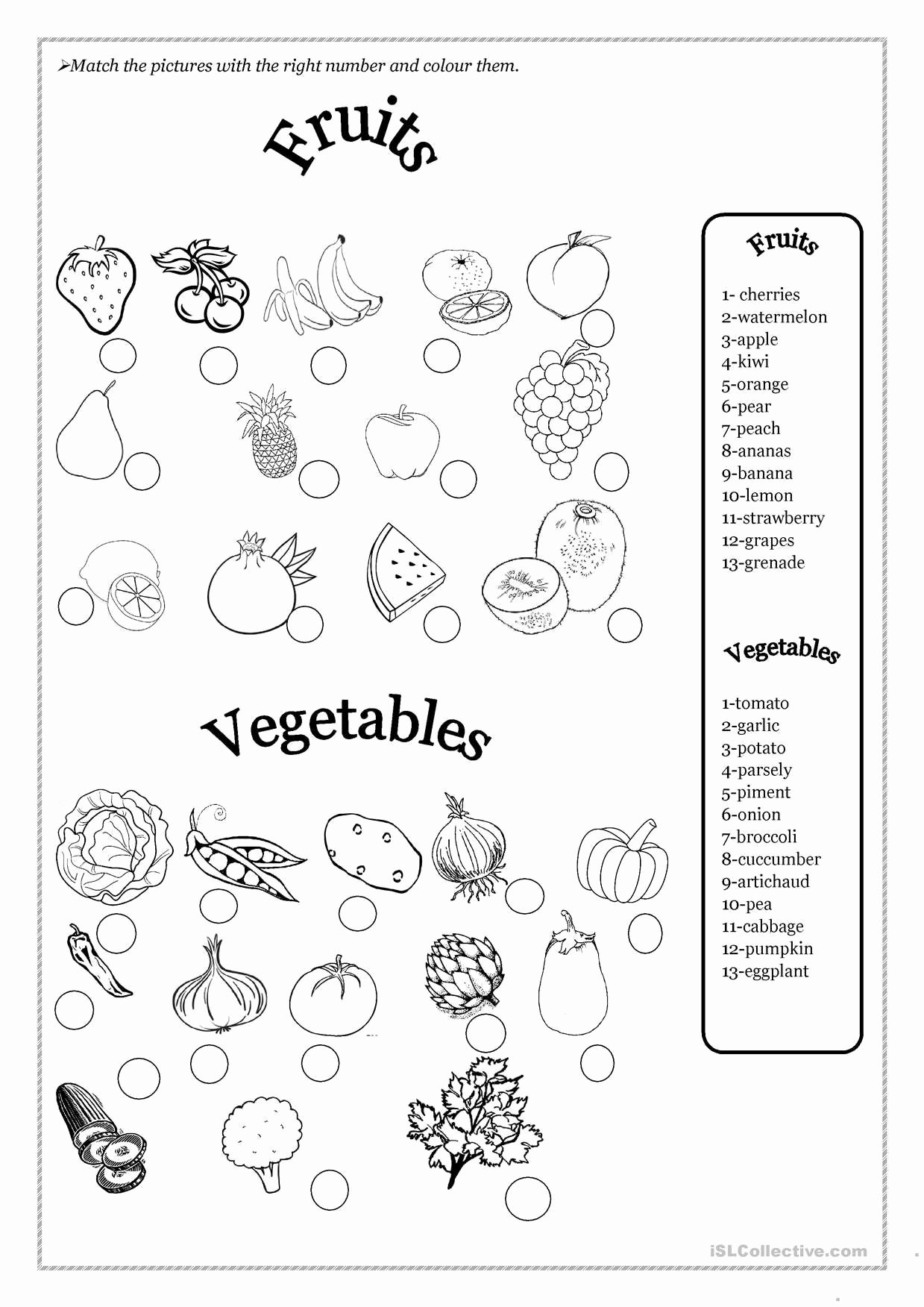 Fruits and Vegetables Worksheets for Preschoolers New E Click Print Document
