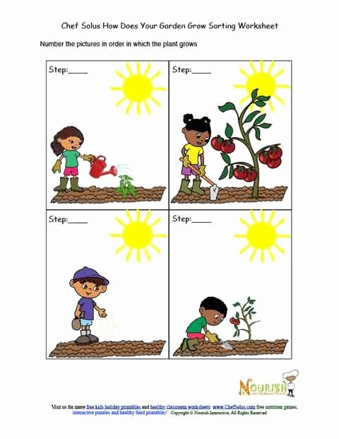 Gardening Worksheets for Preschoolers Fresh Kids Garden Chronological sorting Activity Worksheet