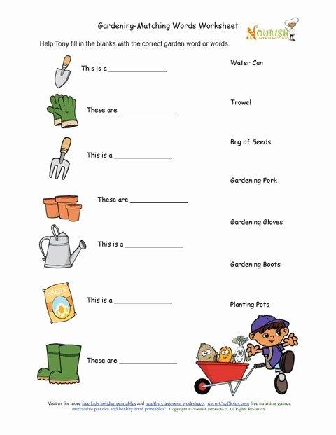 Gardening Worksheets for Preschoolers New Kids Gardening tools Matching Activity Sheet