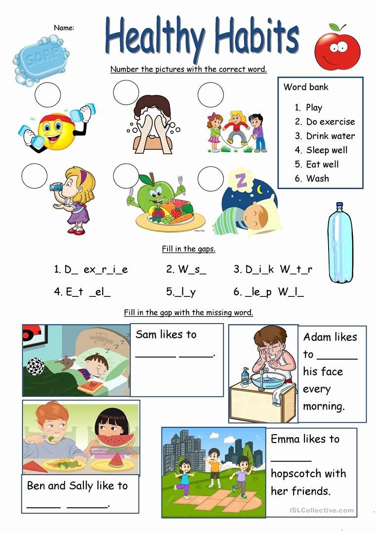 Good Habits Worksheets for Preschoolers Inspirational Healthy Habits Worksheet English Esl Worksheets for Distance