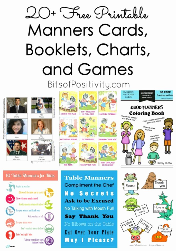 Good Manners Worksheets for Preschoolers Ideas 20 Free Printable Manners Cards Booklets Charts and