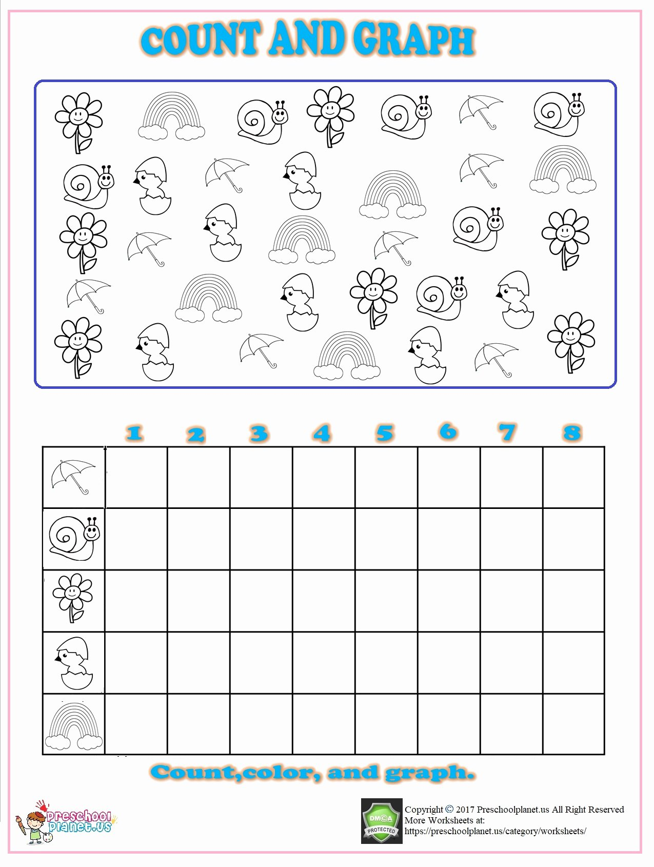 Graph Worksheets for Preschoolers top Spring Count Graph Worksheet for Kindergarten – Preschoolplanet