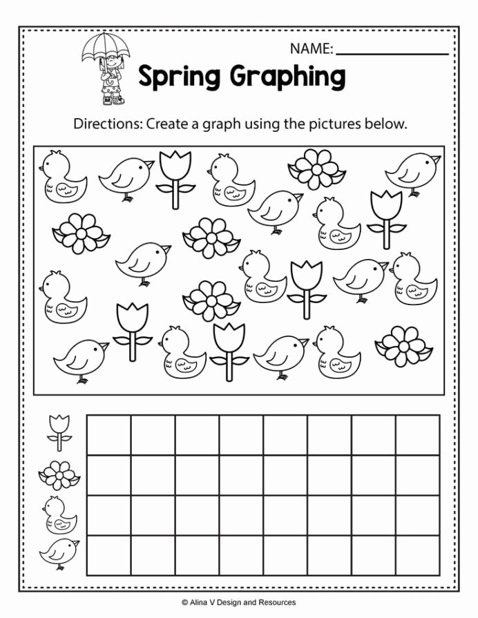 Graphing Worksheets for Preschoolers Fresh Spring Graphing Math Worksheets and Activities for