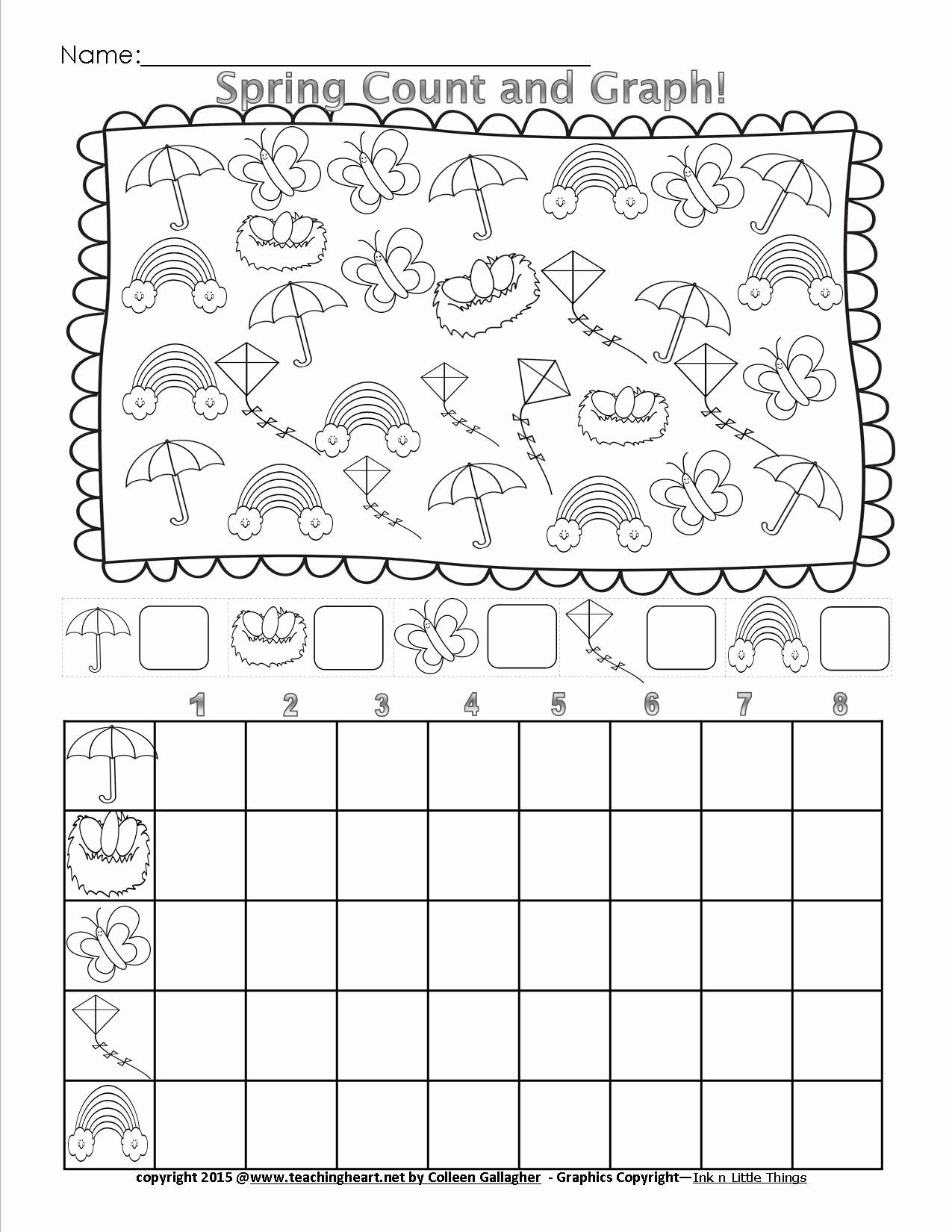 Graphing Worksheets for Preschoolers Kids Spring Count and Graph Free Teaching Heart Blog Graphing