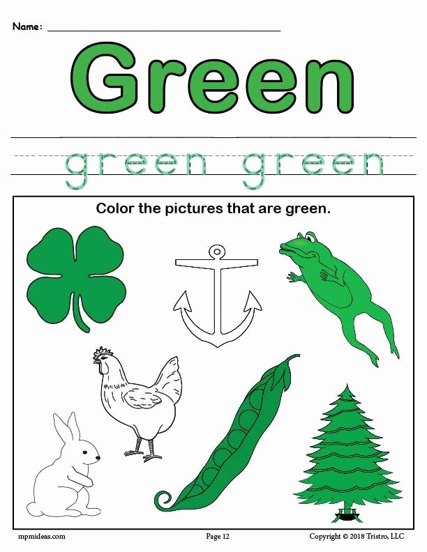 Green Worksheets for Preschoolers Lovely Coloring Pages Color Greenrksheet Supplyme
