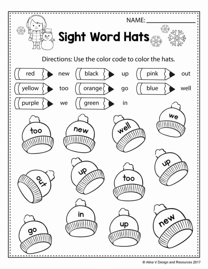 Green Worksheets for Preschoolers Lovely Free Winter Literacy Worksheet for Kindergarten No Prep
