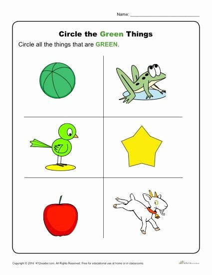 Green Worksheets for Preschoolers New Circle the Green Things