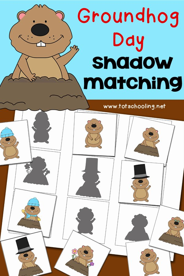 Groundhog Day Worksheets for Preschoolers Free Groundhog Day Shadow Matching Activity