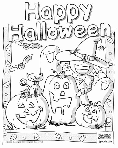 Halloween Coloring Worksheets for Preschoolers New Halloween Scene Coloring Page