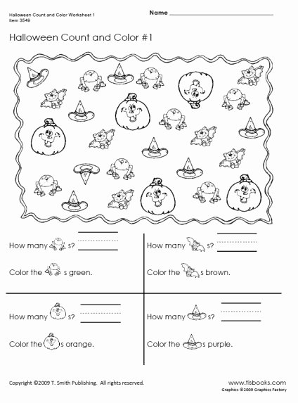 Halloween Counting Worksheets for Preschoolers Free Halloween Count and Color Worksheets 1 2