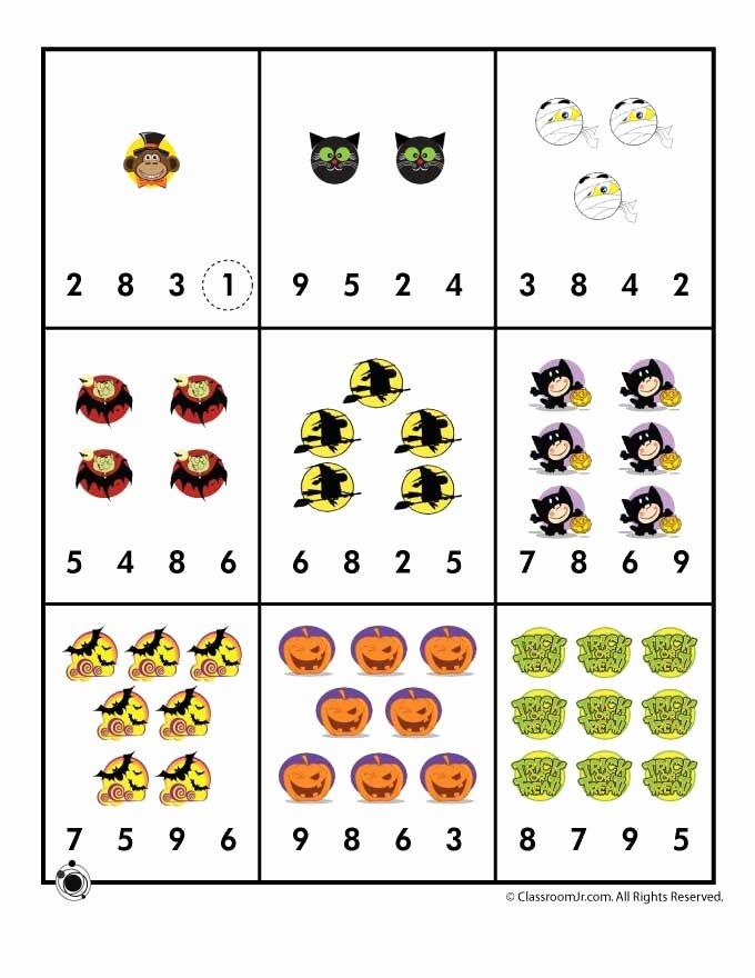 Halloween Counting Worksheets for Preschoolers Fresh Halloween Number Recognition Counting Worksheet
