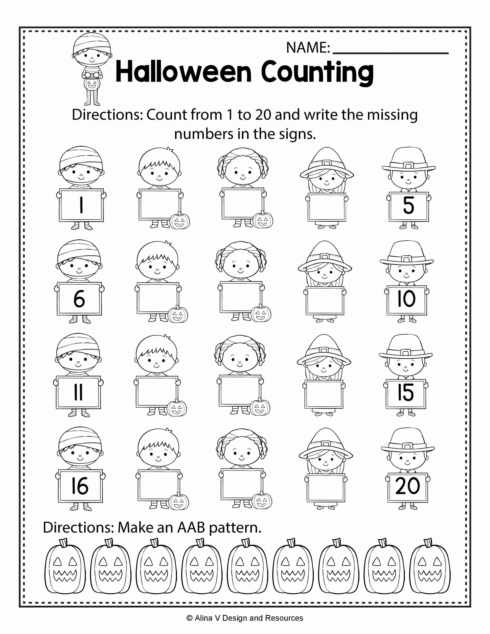 Halloween Counting Worksheets for Preschoolers Lovely Halloween Counting Math Worksheets and Activities for