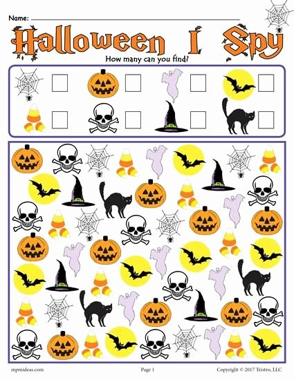 Halloween Counting Worksheets for Preschoolers Printable Halloween I Spy Counting Worksheet