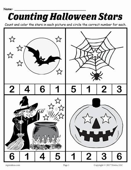 Halloween Counting Worksheets for Preschoolers top Printable Preschool Halloween Counting Worksheet