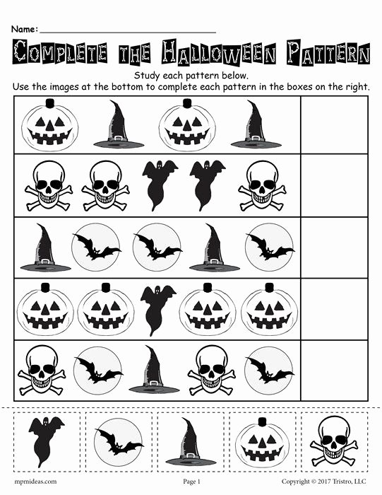 Halloween Printable Worksheets for Preschoolers Lovely Printable Halloween Pattern Worksheet