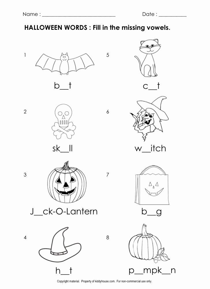 Halloween Printable Worksheets for Preschoolers New Free Halloween Worksheets Fill In the Missing Vowels