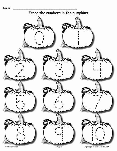 Halloween themed Worksheets for Preschoolers Ideas Printable Pumpkin Number Tracing Worksheets 1 20