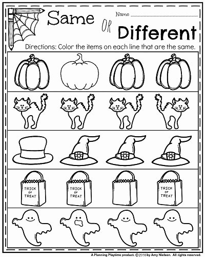 Halloween themed Worksheets for Preschoolers New October Kindergarten Worksheets Planning Playtime