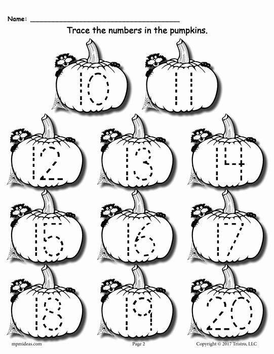 Halloween themed Worksheets for Preschoolers top Printable Pumpkin Number Tracing Worksheets 1 20