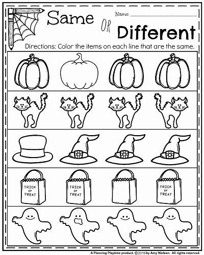 Halloween Worksheets for Preschoolers Fresh October Kindergarten Worksheets Planning Playtime