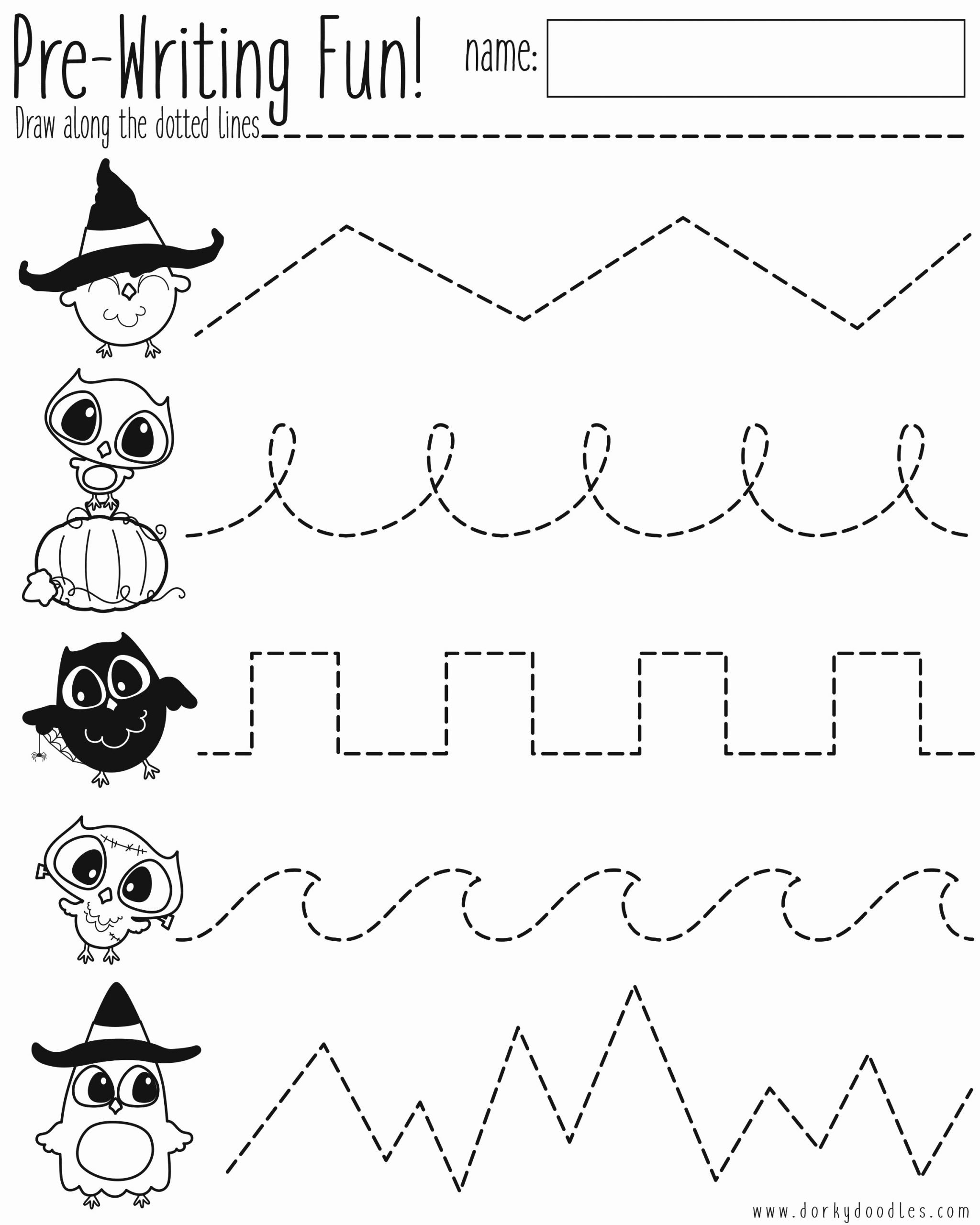 Halloween Worksheets for Preschoolers Ideas Pre Writing Practice Halloween Worksheet – Dorky Doodles