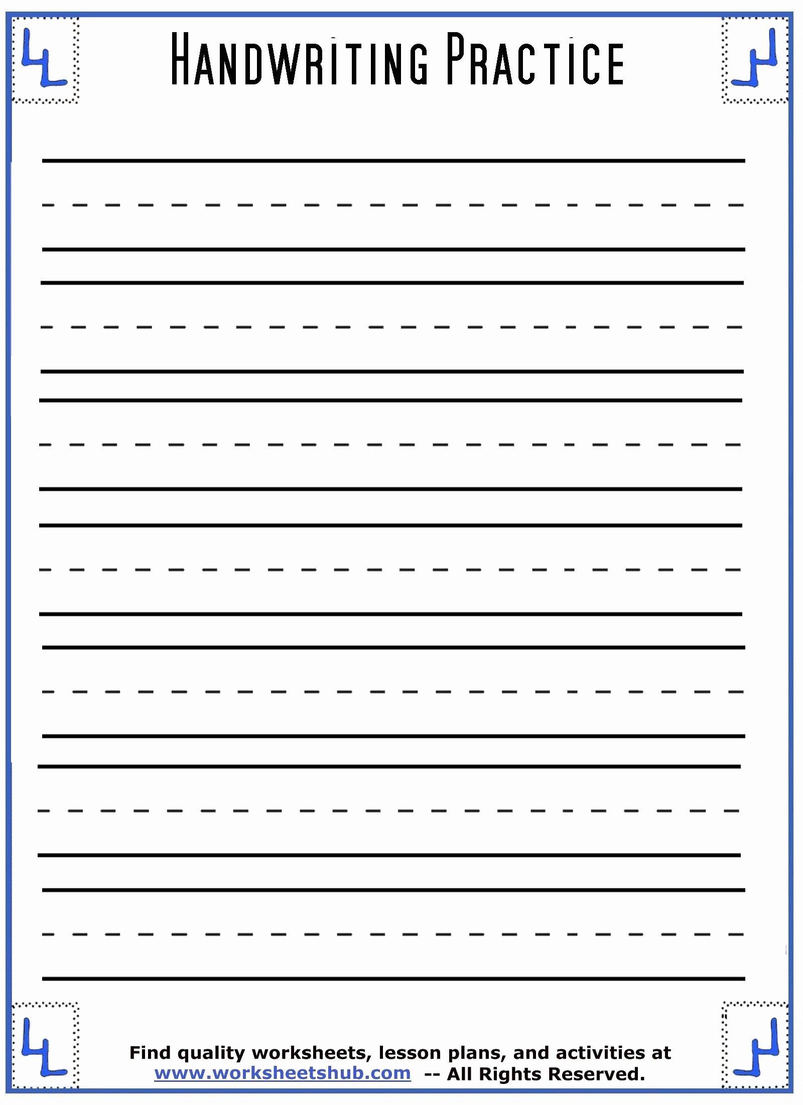 Handwriting Worksheets for Preschoolers Free Lovely Worksheets Handwriting Sheets Printable Lined Paper