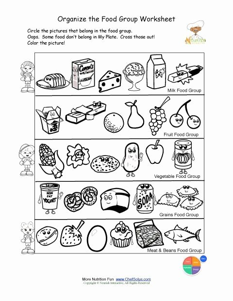 Healthy Worksheets for Preschoolers Kids Printable Color and sorting Food Groups