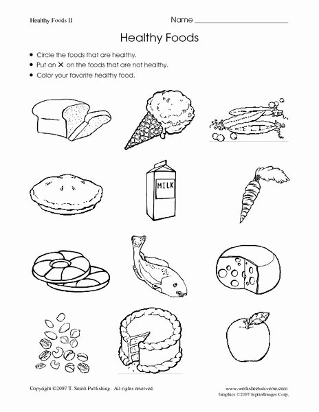 Healthy Worksheets for Preschoolers New Healthy Foods Worksheet for Kindergarten 1st Grade and Food