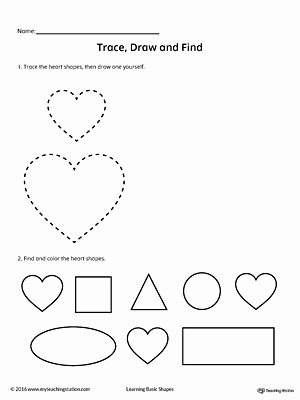 Heart Shape Worksheets for Preschoolers Free Trace Draw and Find Heart Shape