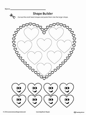 Heart Shape Worksheets for Preschoolers Kids Geometric Shape Builder Worksheet Heart