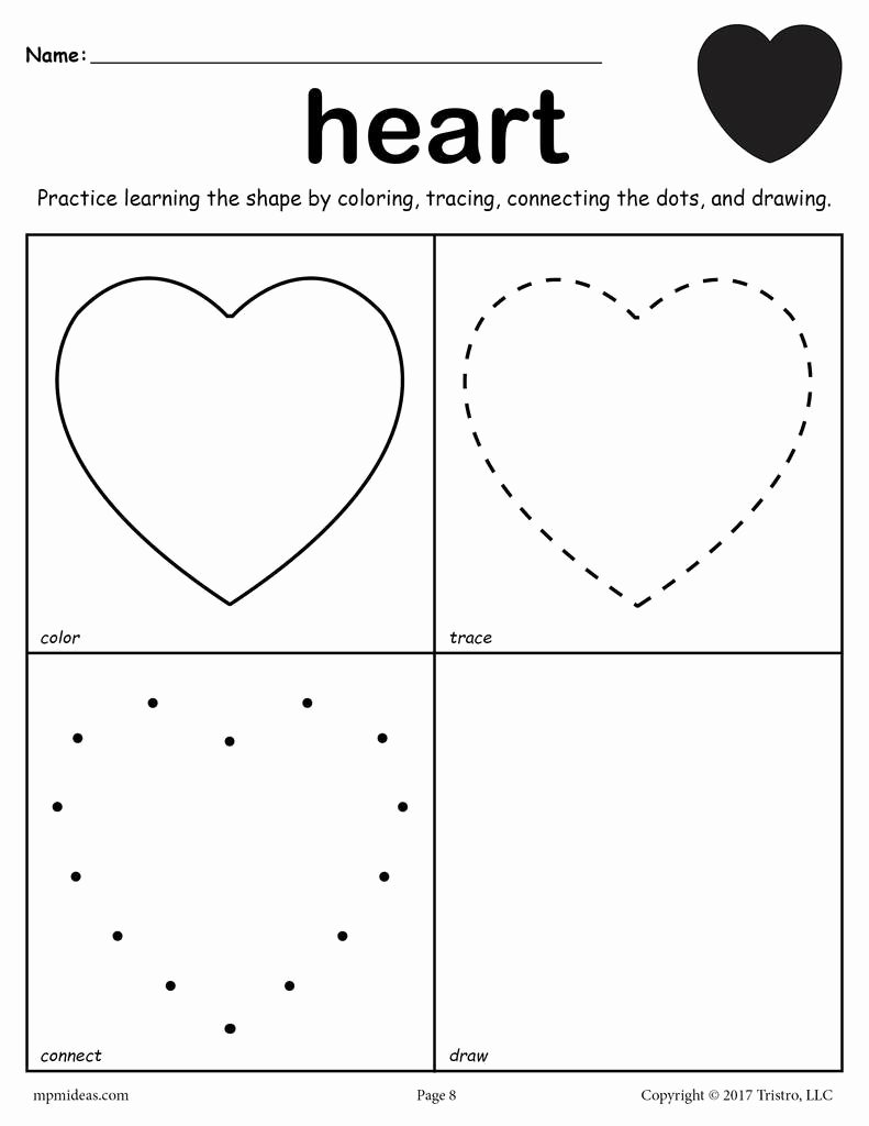Heart Shape Worksheets for Preschoolers Kids Heart Shape Worksheet Color Trace Connect & Draw