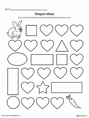 Heart Shape Worksheets for Preschoolers New Heart Shape Maze Printable Worksheet
