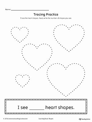 Heart Shape Worksheets for Preschoolers Printable Geometric Shape Counting and Tracing Heart