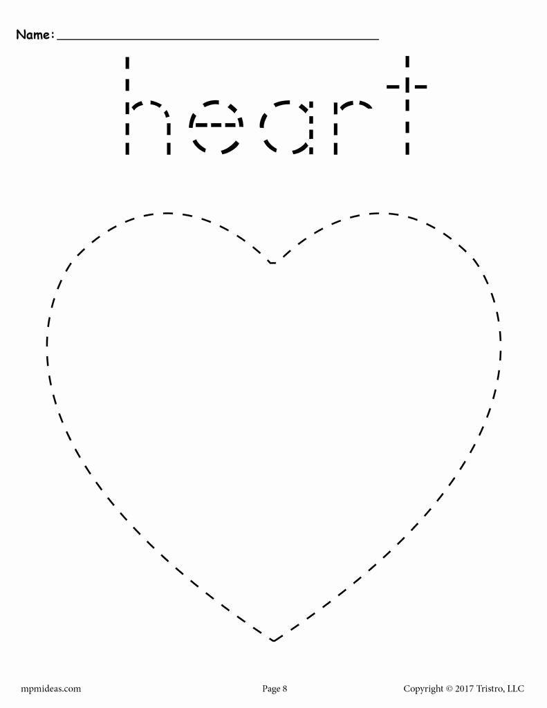 Heart Shape Worksheets for Preschoolers Printable Heart Tracing Worksheet