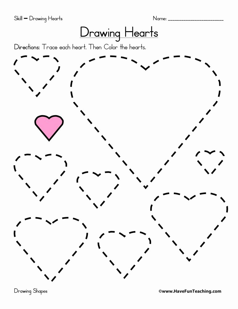 Heart Shape Worksheets for Preschoolers top Drawing Hearts Worksheet